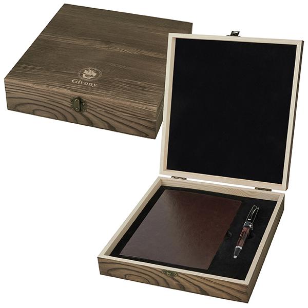מארז מתנה מעץ עבור מחברתיומן A5 ועט מבית המותג גבעוני