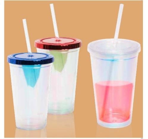 כוס מעוצבת עם קשית